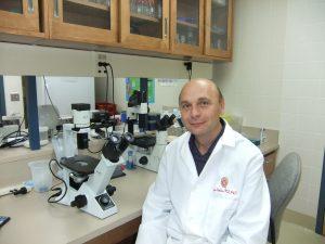 Professor Slukvin sitting at his microscope in the lab.