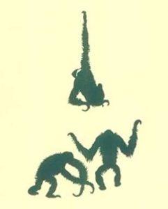 Graphic illustration of three chimpanzees