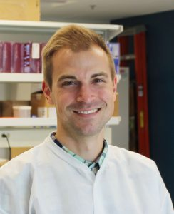 Matthew Aliota in his lab at the University of Minnesota, Department of Veterinary and Biomedical Sciences