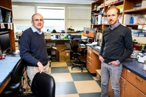 David O'Connor, left, and Thomas Friedrich of the WNPRC's Global Infectious Disease Scientific Group are pictured in their lab at the University of Wisconsin–Madison in 2020. Photo: Jeff Miller, UW-Madison